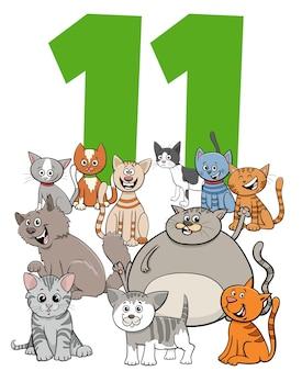 Ilustración de dibujos animados del número once con divertidos gatos y gatitos grupo de personajes de animales