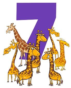 Ilustración de dibujos animados del número siete con divertidos personajes de animales jirafas grupo
