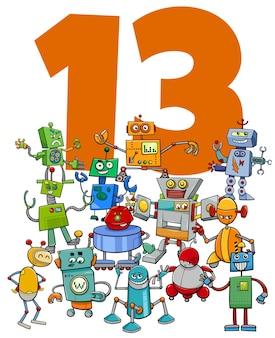 Ilustración de dibujos animados del número trece con el grupo de personajes de fantasía de robots divertidos