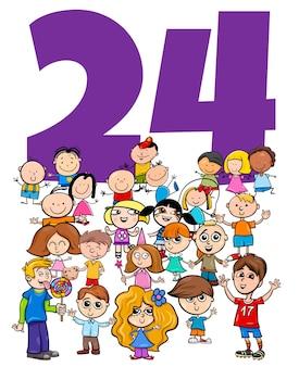 Ilustración de dibujos animados del número veinticuatro con grupo de personajes infantiles divertidos