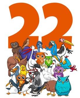 Ilustración de dibujos animados del número veintidós con animales divertidos pájaros