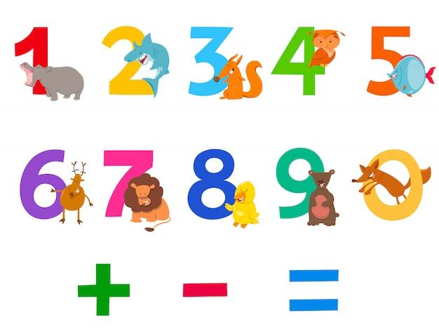 Ilustración de dibujos animados de números con animales