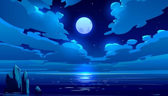 Ilustración de dibujos animados de océano de noche de luna llena