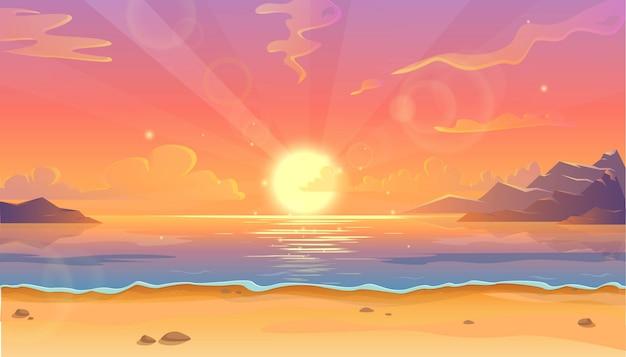 Ilustración de dibujos animados del paisaje del océano en la puesta del sol o el amanecer con un hermoso cielo rosado y el reflejo del sol sobre el agua. hermosa naturaleza con playa.
