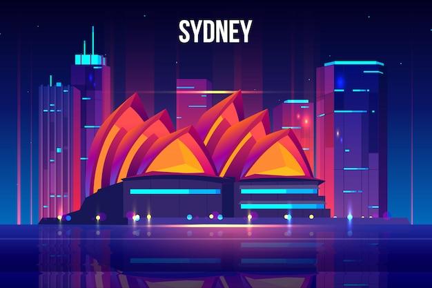Ilustración de dibujos animados de paisaje urbano de sydney