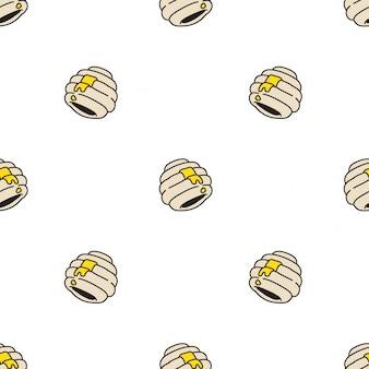 Ilustración de dibujos animados de panal de abeja de patrones sin fisuras de panal de miel