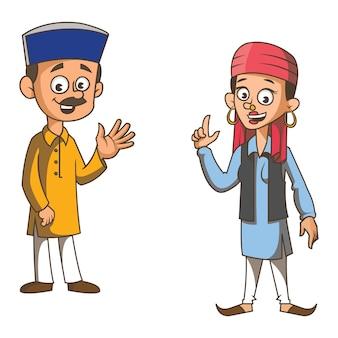Ilustración de dibujos animados de la pareja de himachal pradesh.
