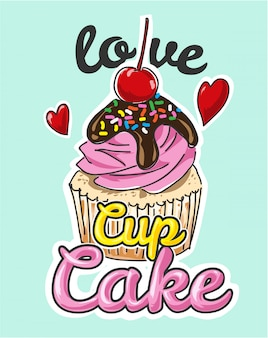 Ilustración de dibujos animados pastel taza pastel