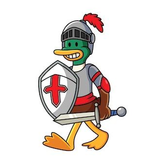 Ilustración de dibujos animados de pato caballero
