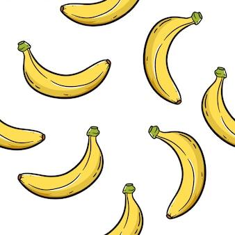 Ilustración de dibujos animados de patrones sin fisuras de plátano