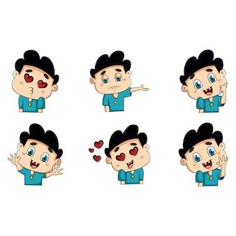 Ilustración de dibujos animados de pegatinas de niño lindo