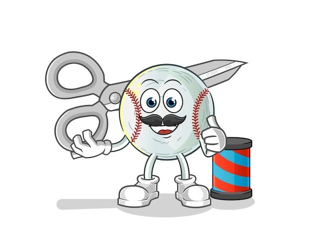 Ilustración de dibujos animados de peluquero de béisbol
