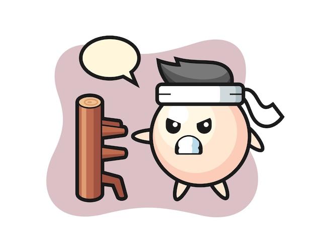 Ilustración de dibujos animados de perlas como un luchador de karate