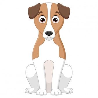 Ilustración de dibujos animados de perro basset hound sentado sobre fondo blanco