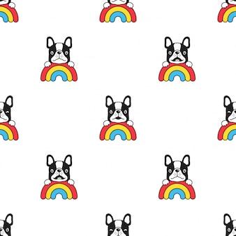 Ilustración de dibujos animados de perro bulldog francés arco iris de patrones sin fisuras