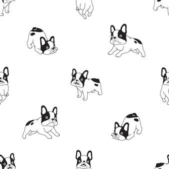 Ilustración de dibujos animados de perro bulldog francés de patrones sin fisuras
