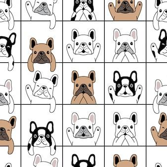 Ilustración de dibujos animados de perro cachorro bulldog francés de patrones sin fisuras