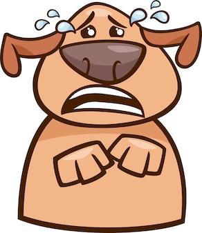 Ilustración de dibujos animados de perro llorando