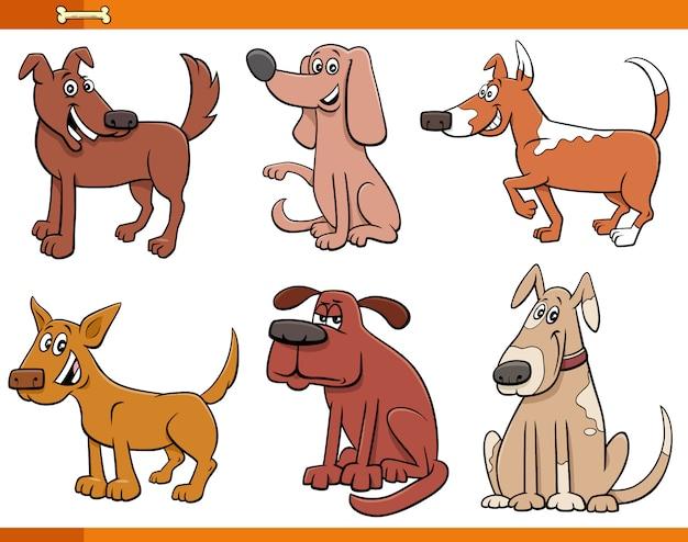 Ilustración de dibujos animados de perros y cachorros divertidos conjunto de personajes de animales cómicos