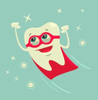 Ilustración de dibujos animados de personaje de diente de superhéroe