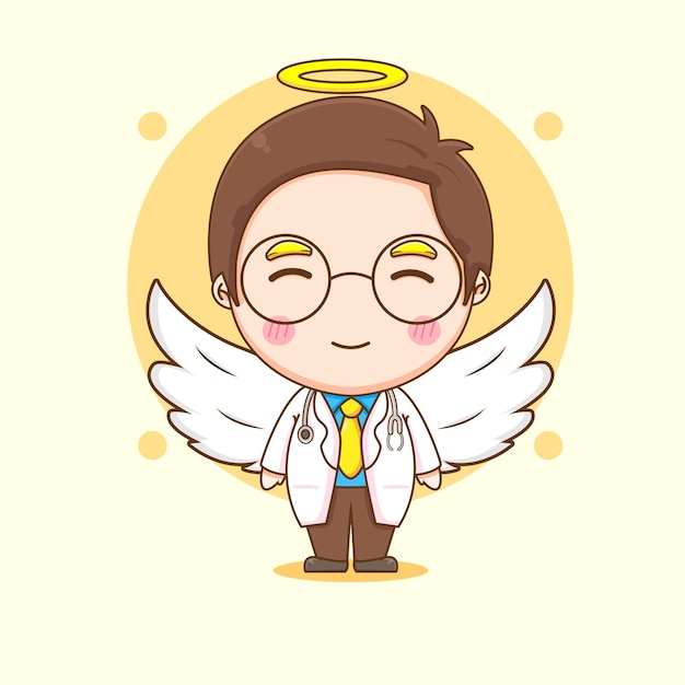 Ilustración de dibujos animados de personaje lindo médico como un ángel