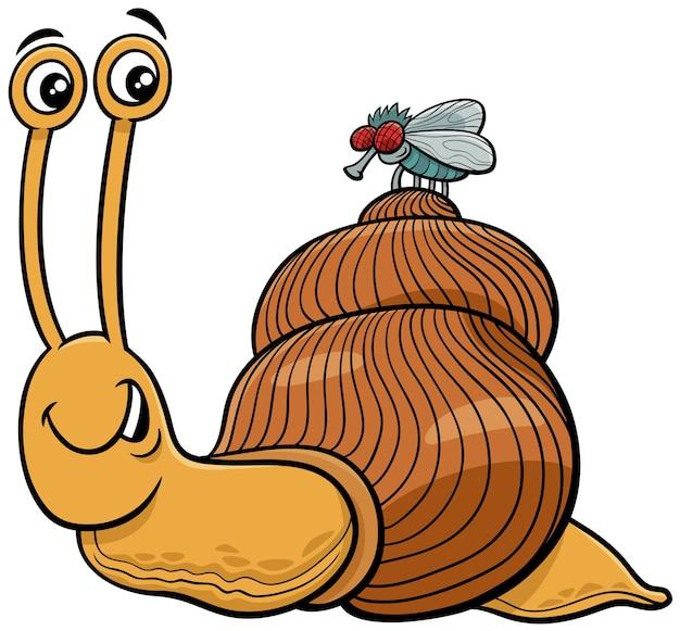 Ilustración de dibujos animados de personajes de caracol y mosca