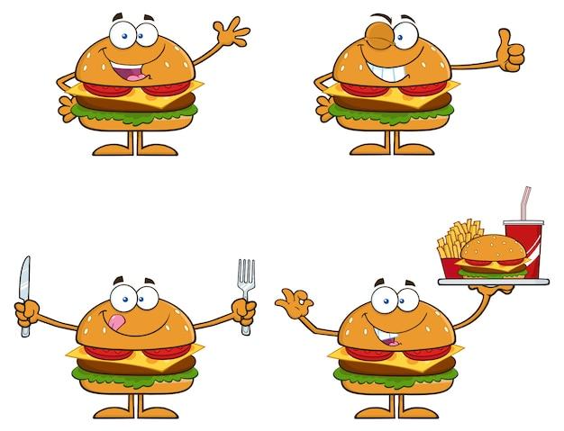 Ilustración de dibujos animados de personajes de hamburguesa