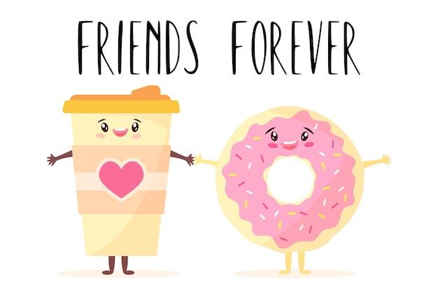 Ilustración de dibujos animados de personajes sonrientes kawaii lindo taza de café y postre cogidos de la mano.