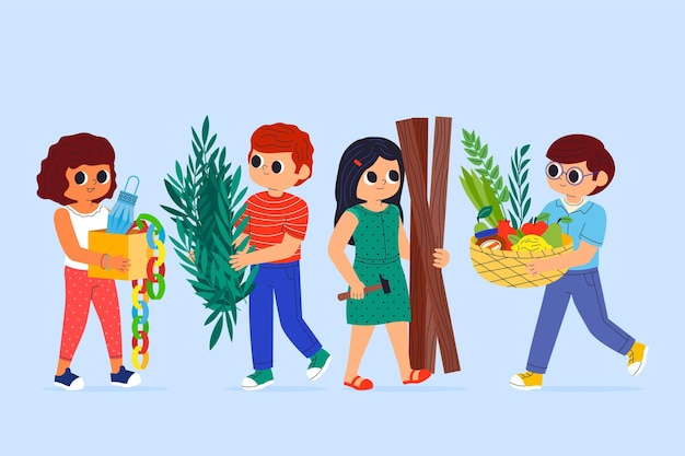 Ilustración de dibujos animados de personas celebrando sucot