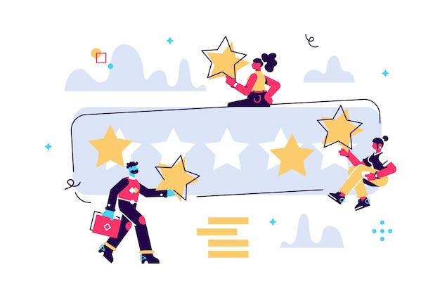 Ilustración de dibujos animados de personas diminutas con grandes estrellas en las manos. la mejor estimación, la puntuación de cinco puntos. los personajes dejan comentarios y opiniones, el trabajo exitoso es la puntuación más alta.