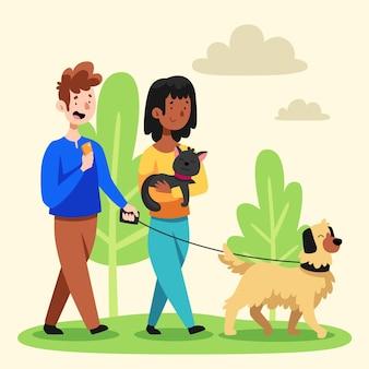 Ilustración de dibujos animados de personas con mascotas