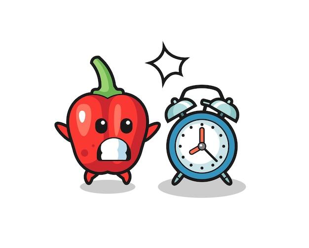 Ilustración de dibujos animados de pimiento rojo sorprendido con un despertador gigante
