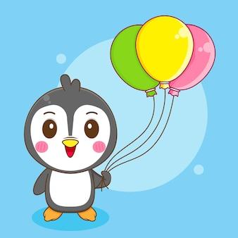 Ilustración de dibujos animados de pingüino lindo con globo colorido