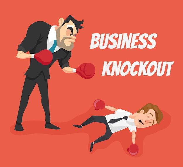 Ilustración de dibujos animados plana de knockout de negocios