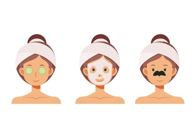 Ilustración de dibujos animados plana de mujer con mascarilla, parches nasales, cuidado de la piel con parche ocular de pepino.
