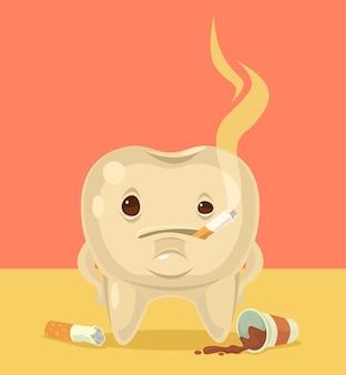 Ilustración de dibujos animados plana de personaje de diente de fumar