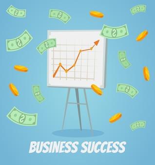Ilustración de dibujos animados plana de presentación de gráfico de negocios