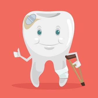 Ilustración de dibujos animados plano de diente roto enfermo