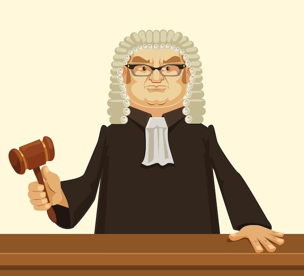 Ilustración de dibujos animados plano de juez estricto