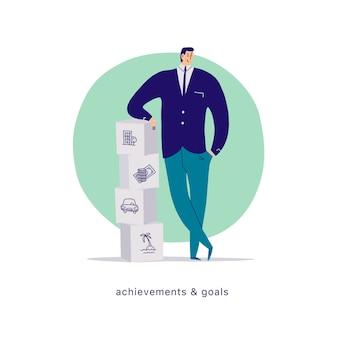 Ilustración de dibujos animados plano de vector con carácter de oficina de empresario en pila de bloques aislado sobre fondo blanco. metáfora: logros, motivación, hogar, finanzas monetarias, automóvil, metas de vacaciones.