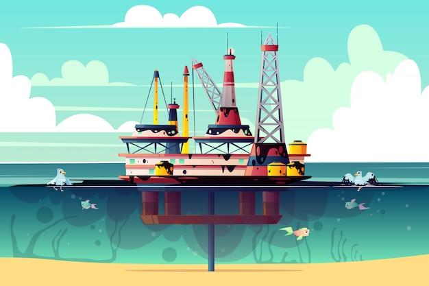 Ilustración de dibujos animados de la plataforma petrolera en el océano
