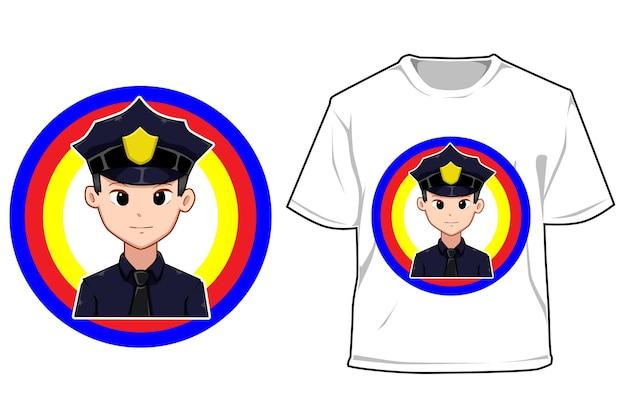 Ilustración de dibujos animados de policía joven maqueta