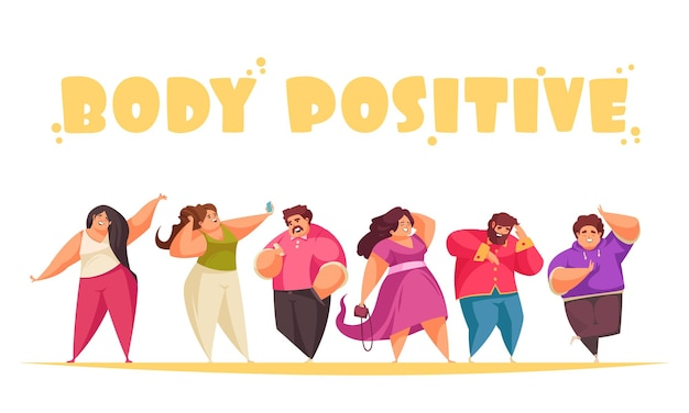 Ilustración de dibujos animados positivos de cuerpo con personajes humanos felices regordetes en blanco