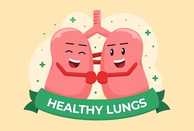 Ilustración de dibujos animados de pulmones sanos felices