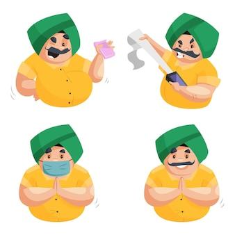 Ilustración de dibujos animados de punjabi chef character set
