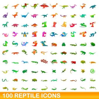 Ilustración de dibujos animados de reptiles conjunto de iconos aislado en blanco