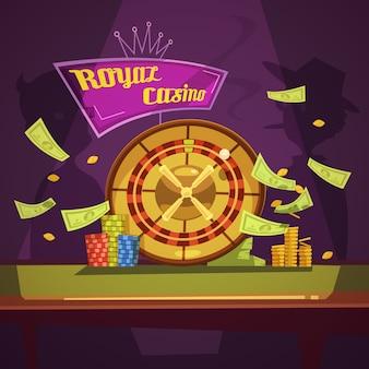 Ilustración de dibujos animados retro de casino