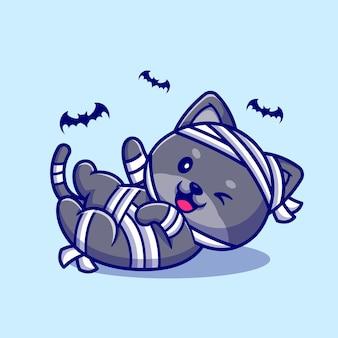 Ilustración de dibujos animados riendo lindo gato momia.
