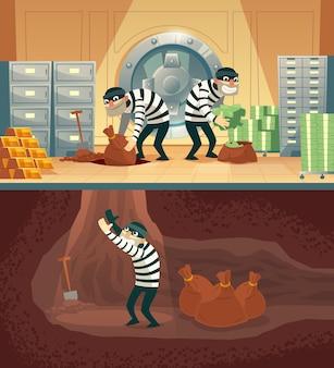 Ilustración de dibujos animados de robo de un banco en bóveda de seguridad.