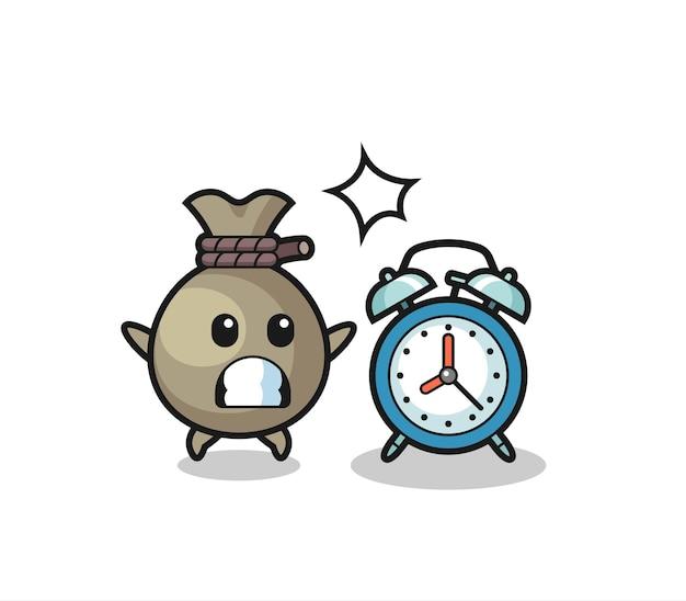 Ilustración de dibujos animados de saco de dinero se sorprende con un reloj despertador gigante, diseño de estilo lindo para camiseta, pegatina, elemento de logotipo